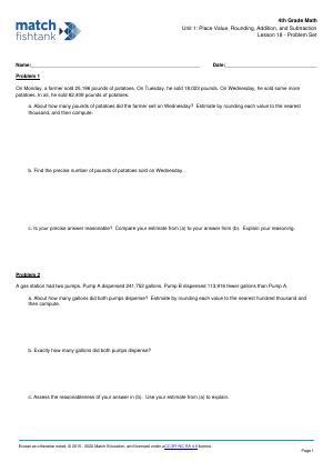 Worksheet for Lesson 18