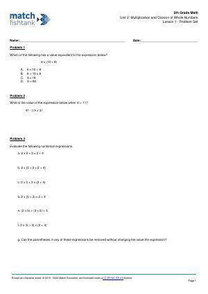 Worksheet for Lesson 1