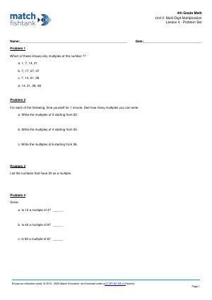 Worksheet for Lesson 4