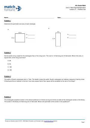 Worksheet for Lesson 21