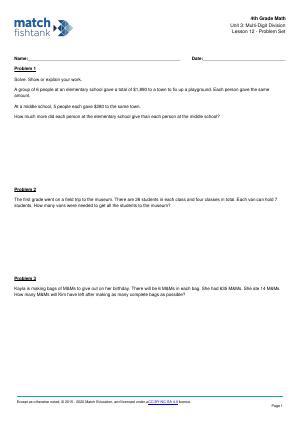 Worksheet for Lesson 12