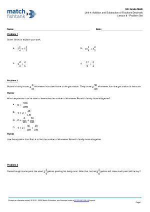 Worksheet for Lesson 8