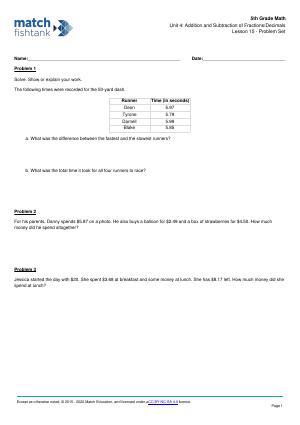Worksheet for Lesson 15