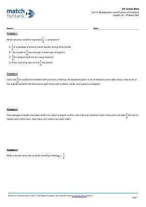 Worksheet for Lesson 20