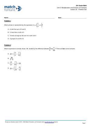 Worksheet for Lesson 22
