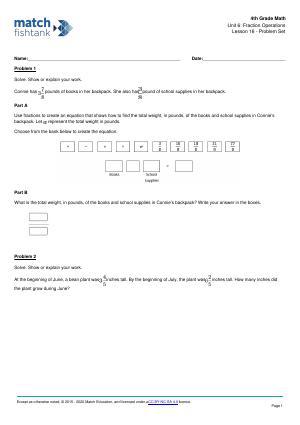 Worksheet for Lesson 16