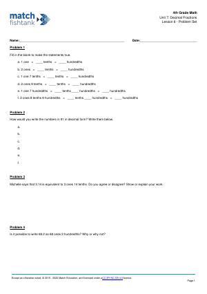 Worksheet for Lesson 6