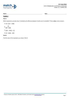 Worksheet for Lesson 19