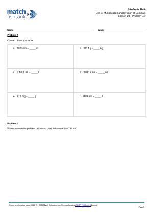 Worksheet for Lesson 23